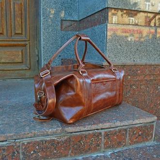 Коричневая сумка для путешествий, Кожаная дорожная / спортивная сумка