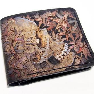 Кошелек с черепом, череп в лилиях, мужской кошелек с рисунком, портмоне, мужское портмоне