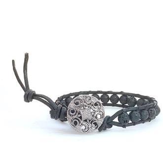 Спиральный браслет  чан лу chan luu из натуральных камней. вулканическая лава