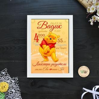 """Детская метрика-постер, бумажная метрика """"Винни Пух"""""""