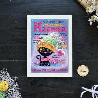 """Детская метрика-постер, бумажная метрика """"Котенок"""""""
