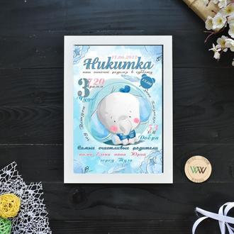 """Детская метрика-постер, бумажная метрика """"Слонёнок"""""""