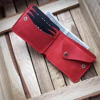 Кожаное портмоне,классический мужской кошелек, бумажник двойного сложения. Бифолд кожаный