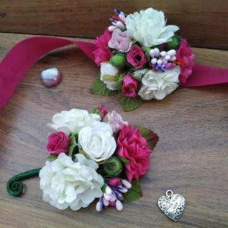 Комплект бутоньерок в цвете Фуксия Бутоньерка для свидетеля Бутоньерка на руку для подружек невесты