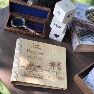 """Свадебный фотоальбом / Свадебная гостевая книга / Альбом для фотографий """"Travel Wedding"""""""