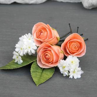 Шпильки для волос с розами и цветами гипсофилы, Свадебные шпильки