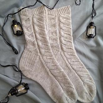 Вязаные носки Weave (носочная пряжа льняного цвета 38-40 р-р)