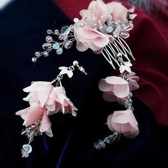 """""""Лучія"""" сережки і гребінь з рожевим кварцом - безкоштовна доставка"""