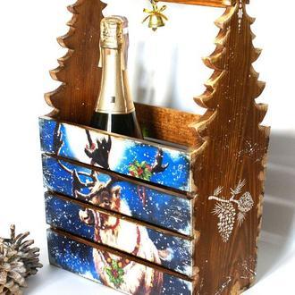 Корзина для шампанского Олень Рудольф ,новогодний сувенир