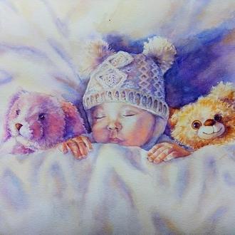 """Картина """"Нежность детских снов"""" спящий ребенок купить киев"""