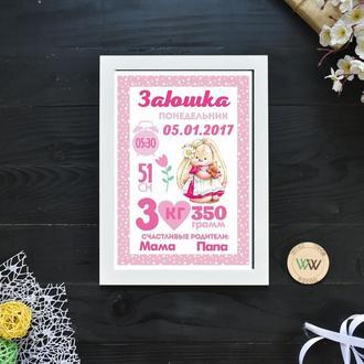 """Детская метрика-постер, бумажная метрика """"Зайчик"""""""