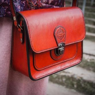 Женская сумка, кожаная рыжая сумочка, сумка для девушки, стильная сумка