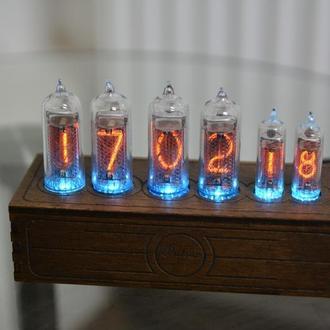 Ламповые часы на ИН 14 + ИН 16 NIXIE CLOCK в стиле ретро винтаж з подсветкой RGB