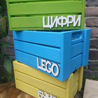 Деревянный ящик для игрушек, сортировка, и тому подобное.
