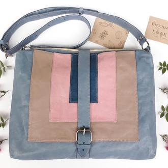 """Кожаный портфель женский """"Карри"""" голубой, сумка для ноутбука, большая кожаная сумка"""