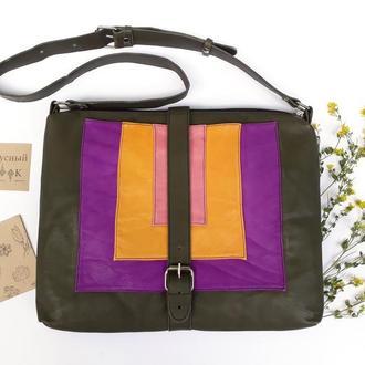 """Кожаный женский портфель """"Карри"""" (зеленый)"""
