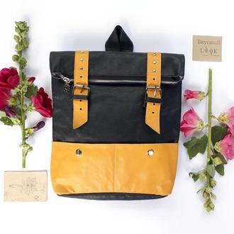 """Кожаный рюкзак большой """"Ажгон"""" зеленый с оранжевым, женский городской рюкзак, большой рюкзак"""