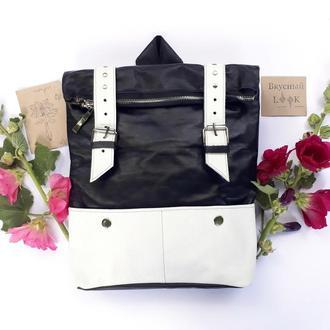 """Кожаный рюкзак большой """"Ажгон"""" черно-белый, городской рюкзак,"""