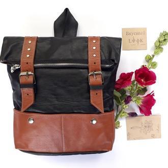 """Вместительный кожаный рюкзак """"Ажгон""""  (черный с коричневым)"""