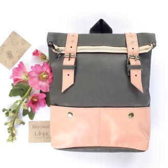 """Кожаный рюкзак большой """"Ажгон"""" серый с розовым"""