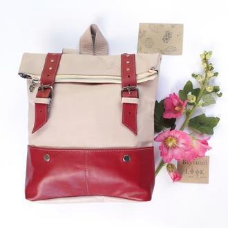 """Кожаный рюкзак большой """"Ажгон"""" розовый, женский городской рюкзак, яркий кожаный рюкзак"""