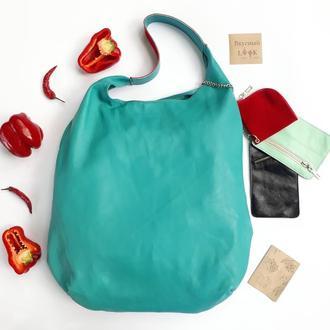 """Кожаная сумка - мешок """"Паприка"""" бирюзовая, летняя сумка, большая кожаная сумка, модная женская сумка"""