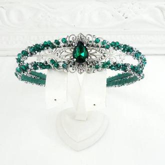 Зеленый ободок с камнями, бисерный обруч для волос, украшение на свадьбу, обруч для выпускного
