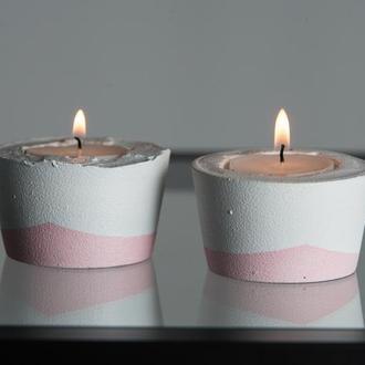 """Набор подсвечников """"Белая пастель"""", розовый / бетонные подсвечники"""