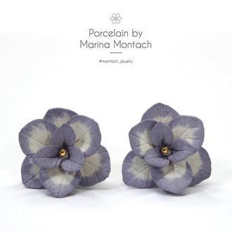 Сиреневые цветы Гортензии серьги керамические