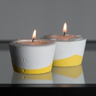 """Набор подсвечников """"Белая пастель"""", желтые / бетонные подсвечники"""