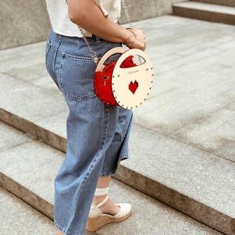 Горячая цена!!  Стильная женская сумочка FIGLIMON miniature | круглая, красная