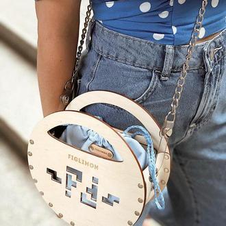 Стильная деревянная женская сумочка FIGLIMON miniature | нежно голубая