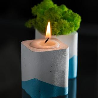 """Набір"""" Біла пастель"""", блакитний. Мох+свічка"""