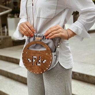 Невероятно стильная летняя сумочка FIGLIMON miniature   темное дерево, серая