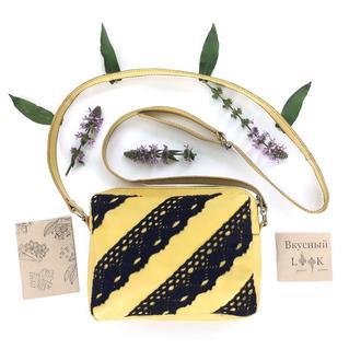 """Женская маленькая кожаная сумка с кружевом """"Рута"""" (желтая)"""