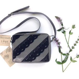"""Кожаная сумка с кружевом """"Рута"""" серая, маленькая женская сумочка, летняя сумка из кожи"""