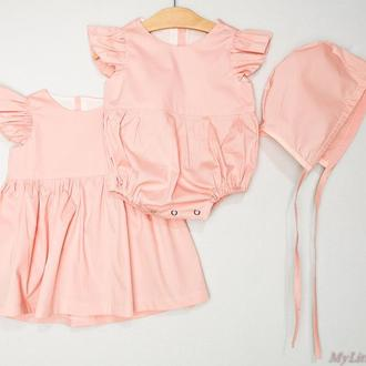 Набор для малышки платья/чепчик/ромпер
