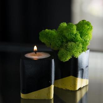 """Набір """"Чорна пастель"""", жовтий. Мох+свічка"""