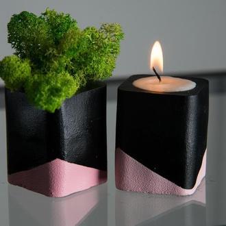 """Набір """"чорна пастель"""", рожевий. Мох+свічка"""