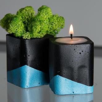 """Набор """"Черная пастель"""", голубой. Мох+свеча"""