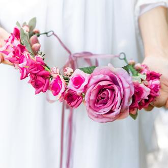 Венок для волос с розовыми розами, Свадебный венок, Цветочный венок с лентой, Венок из цветов