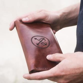 Мужской Клатч - Портмоне из натуральной кожи (Италия) T-Case - Коньяк. Ручная работа, гравировка