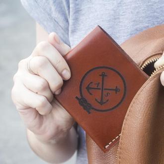 Женский тонкий кошелёк в стиле минимализм Triplet - Коньячный (Итальянская кожа) + Подарок браслет