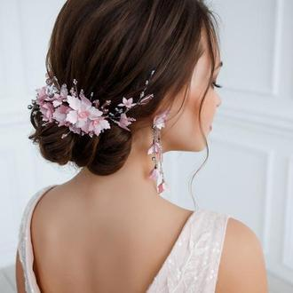 Свадебный гребешок и сережки из цветов