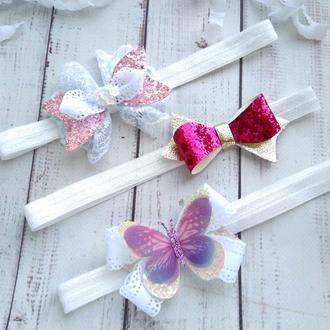 Набор повязок для девочки, повязки на 1 годик, подарок на годовасие, повязки для фотосессии