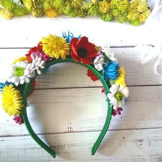 Обруч для волос в украинском стиле с маками, одуванчиками, васильками и ромашками