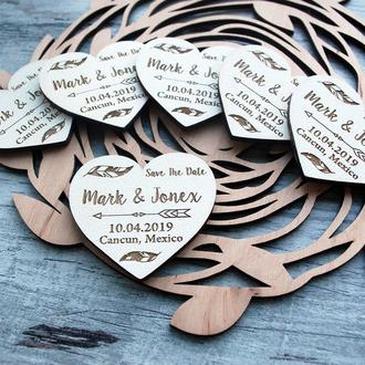 Свадебный магнит из дерева Свадебные пригласительные Зарезервируй дату магниты Свадебный декор