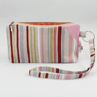 Текстильный кошелек. Кошелек на молнии. Органайзер. Белый кошелек. Аксессуар для сумки. Косметичка.