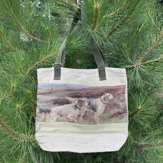 """Парусиновая эко сумка с двумя жаккардовыми карманами """"Собаки на охоте"""""""
