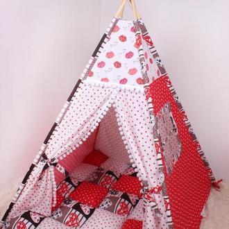 Детская палатка вигвам с ковриком в красных тонах 125х125х170 см